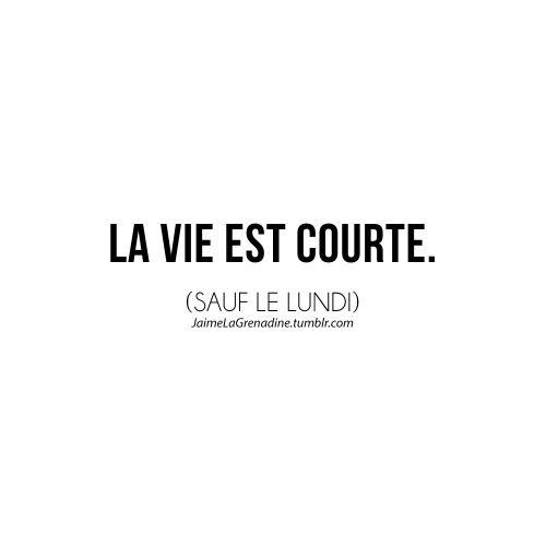 Citation La Vie Est Courte Sauf Le Lundi