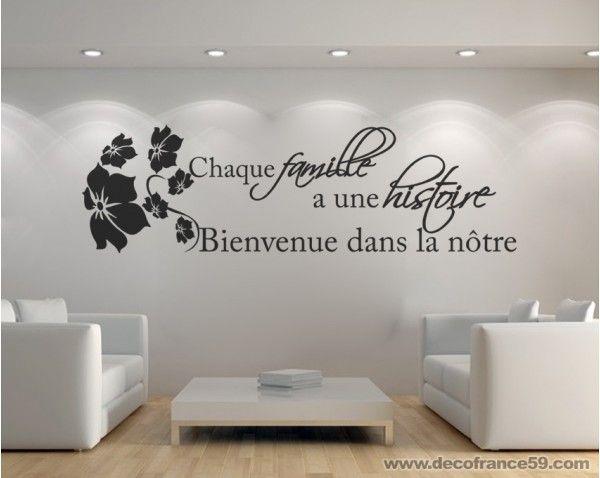Sticker citation histoire de famille stickers citations - Stickers muraux pour salon ...