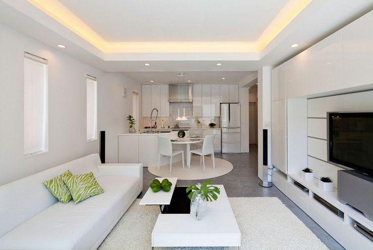 Déco Salon - déco cuisine ouverte sur salon moderne en blanc neige ...