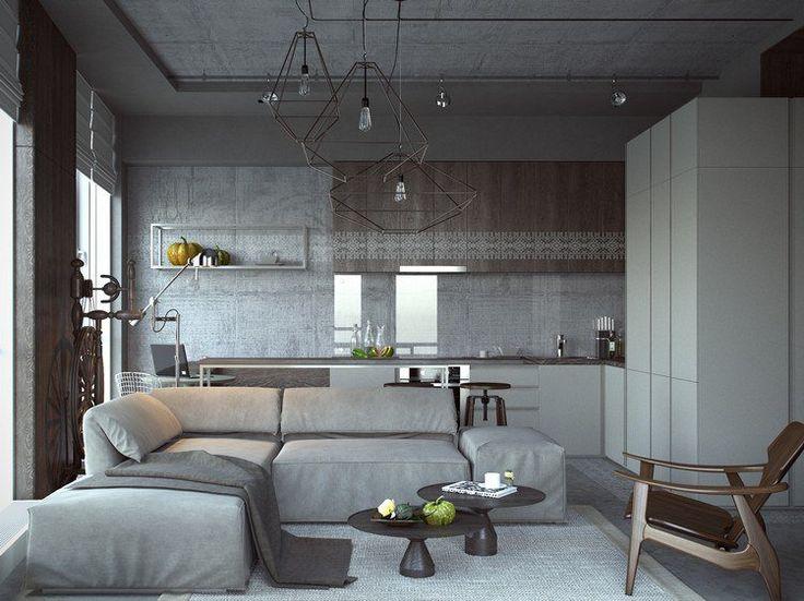 Déco Salon - déco cuisine ouverte sur salon moderne, plafond en ...