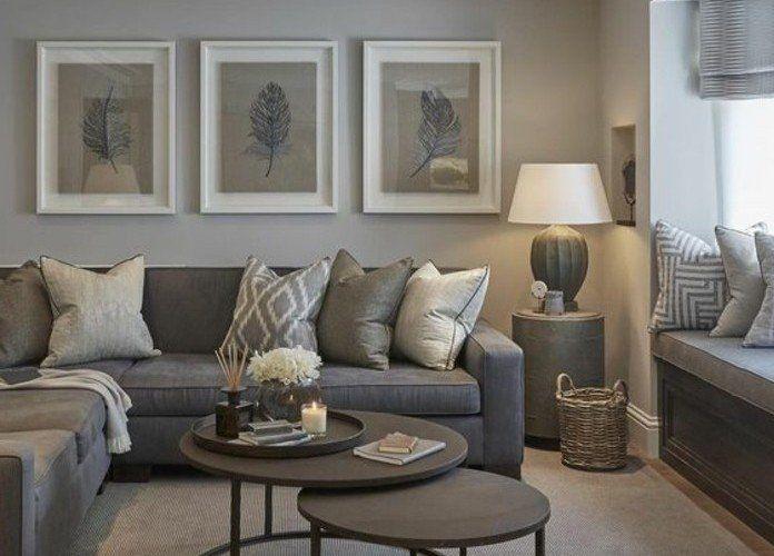 d co salon deco salon gris diff rentes nuances du gris combin s ave du marron couleur. Black Bedroom Furniture Sets. Home Design Ideas