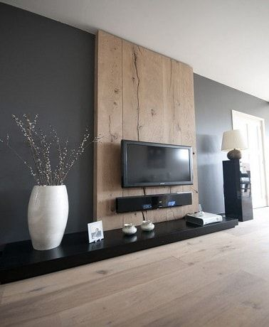 d co salon du gris anthracite et du bois sur le mur dans un salon design. Black Bedroom Furniture Sets. Home Design Ideas