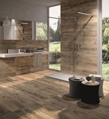Idée décoration Salle de bain - Carrelage imitation bois ...
