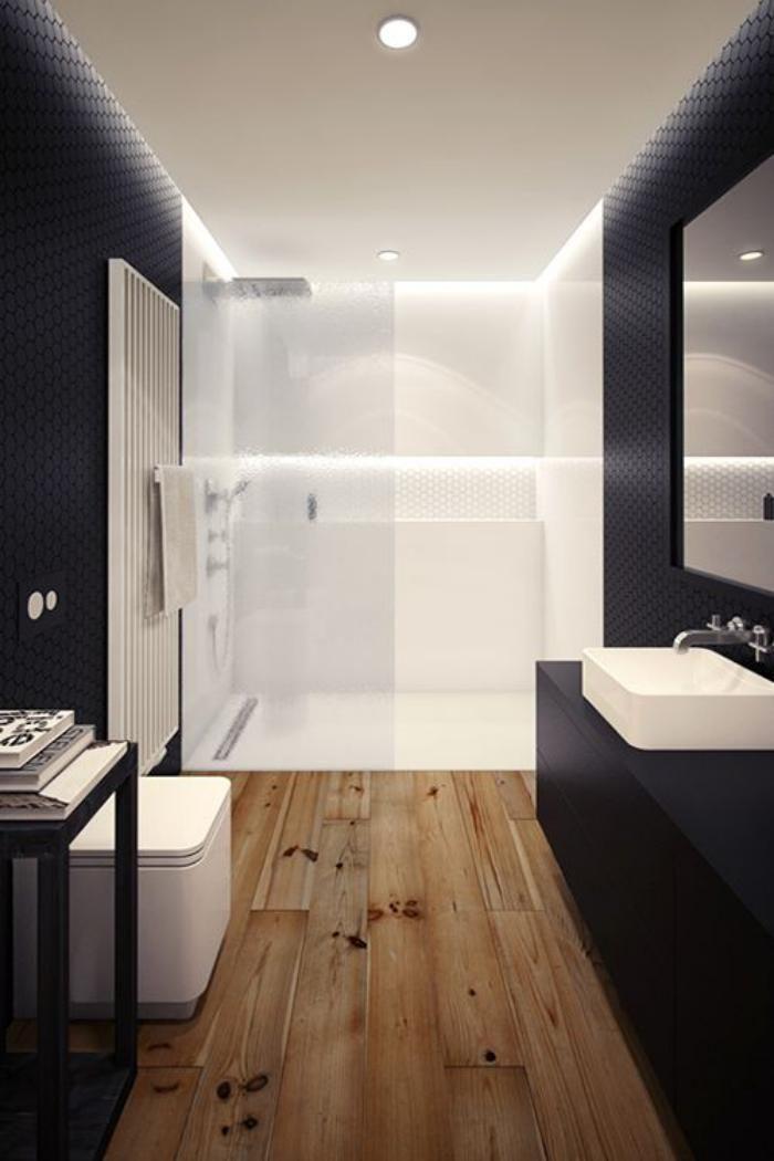Id e d coration salle de bain carrelage imitation parquet carrelage fa on bois dans la salle - Carrelage salle de bain antiderapant ...