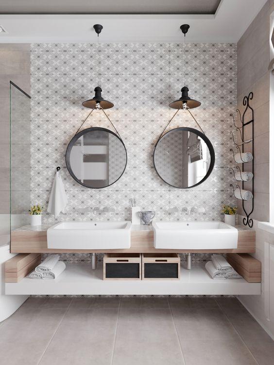 Idée décoration Salle de bain - Elegante salle de bain dans les tons ...