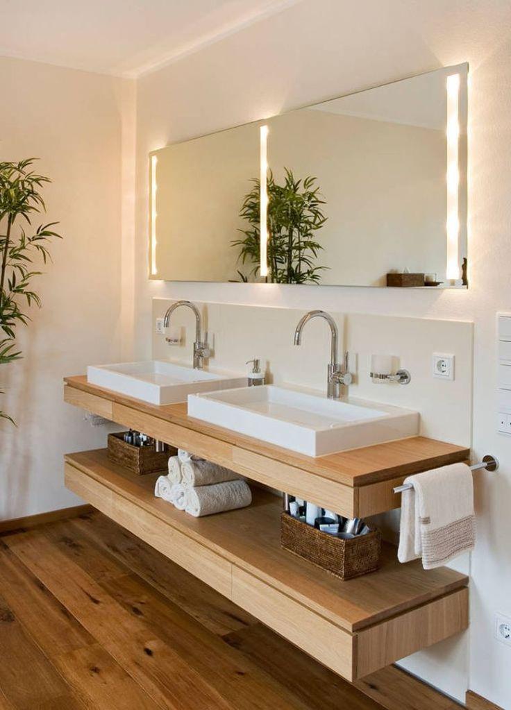 Id e d coration salle de bain petits meubles et tag re for Vasque salle de bain bois