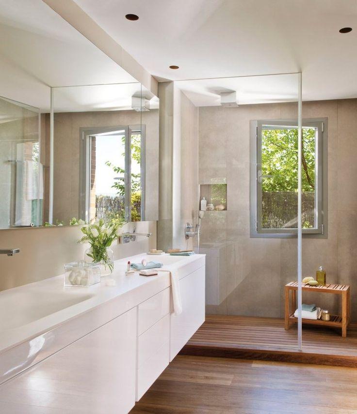 Idée décoration Salle de bain - salle de bains avec parois de ...