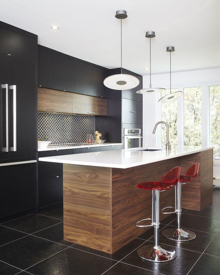 Id e relooking cuisine armoires de cuisine moderne en merisier laqu et noyer tranch - Idees de relooking cuisine moderne ...