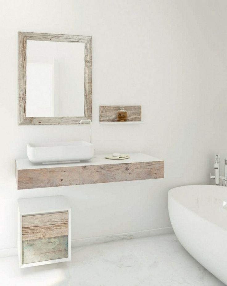 Id e d coration salle de bain meuble vasque salle de bain en bois patin et blanc mat - Meuble salle de bain blanc et bois ...