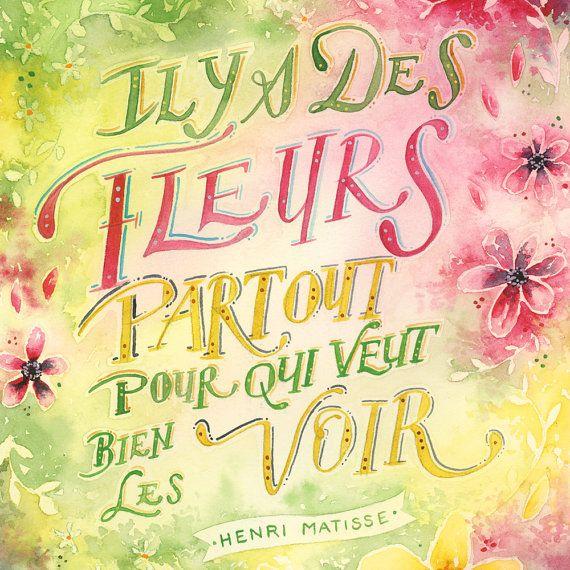Citation Henri Matisse Quote Watercolor Art Floral