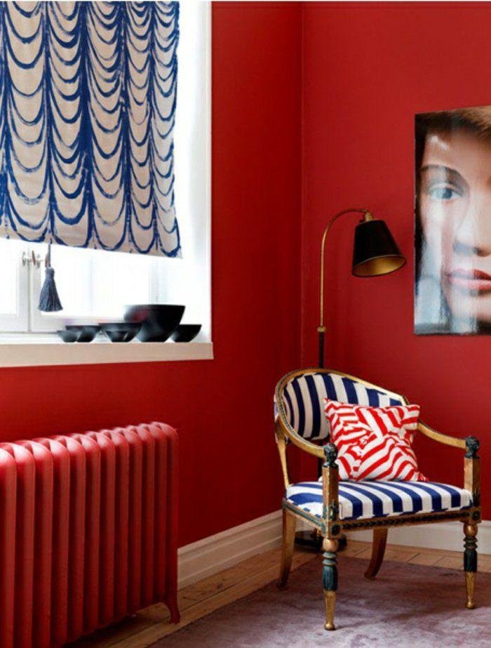 D co salon adopter la couleur carmin peinture murale mur rouge lampe de salon un beau sa - Mur rouge salon ...