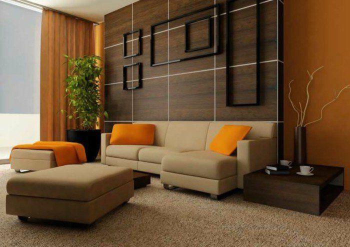Bien connu Déco Salon - couleur de peinture pour salon orange fonce canape  PT06
