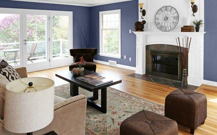 d co salon couleur mur salon bleu fonc chemin e romantique table basse canape et tabo. Black Bedroom Furniture Sets. Home Design Ideas