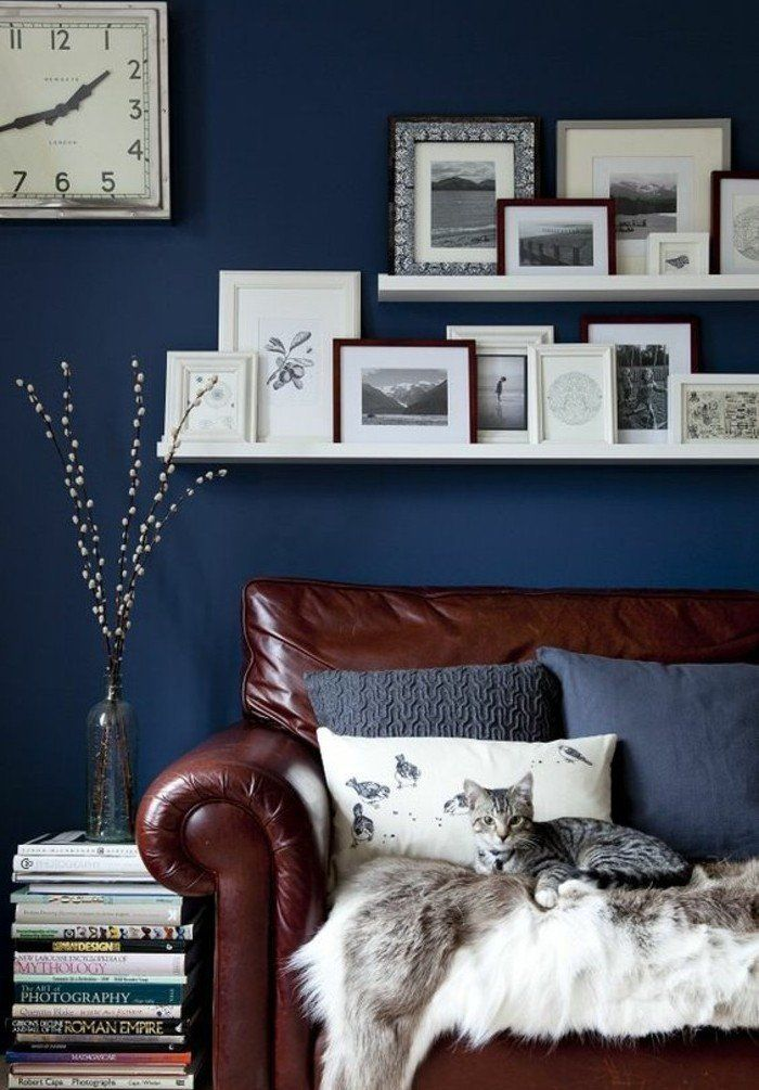 Beautiful decoration salon bleu fonce ideas ridgewayng - Couleur peinture salon ...