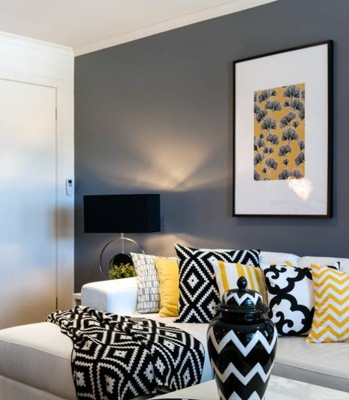 d co salon deco salon gris mur couleur anthracite. Black Bedroom Furniture Sets. Home Design Ideas
