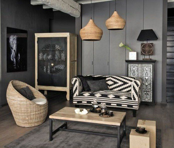 d co salon deco salon gris murs couleur anthracite canap en noir et blanc fauteuil en. Black Bedroom Furniture Sets. Home Design Ideas