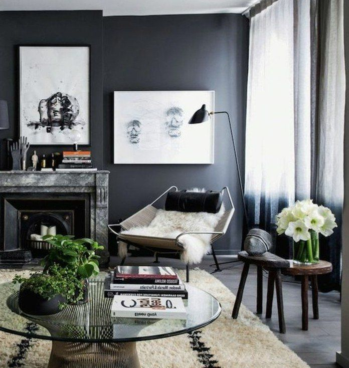 d co salon magnifique couleur peinture salon gris anthracite et l ments d co en blanc. Black Bedroom Furniture Sets. Home Design Ideas