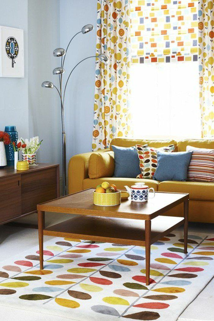 d co salon salon au style vintage rideaux motifs couleur jaune moutarde par touches c. Black Bedroom Furniture Sets. Home Design Ideas