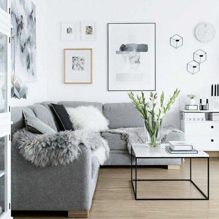 deco salon canape gris et blanc. Black Bedroom Furniture Sets. Home Design Ideas