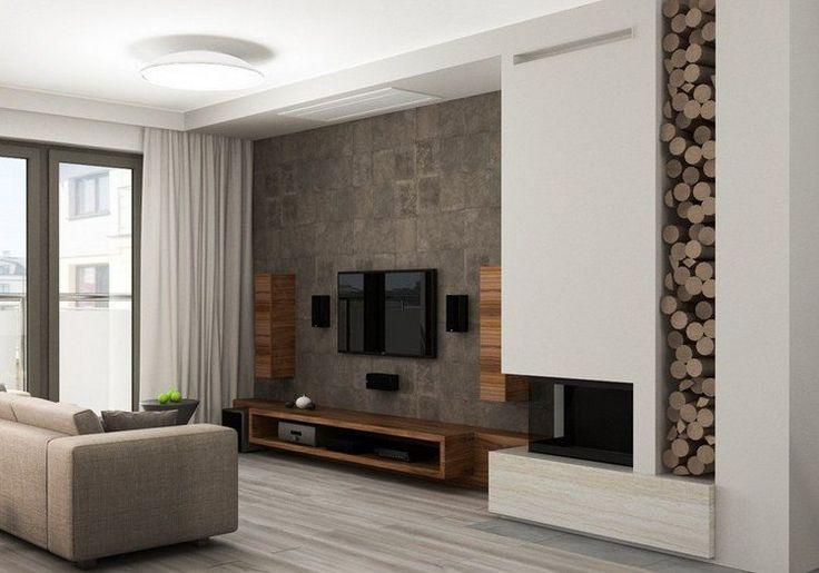 Déco Salon - salon moderne avec déco murale aspect bois, meuble TV ...