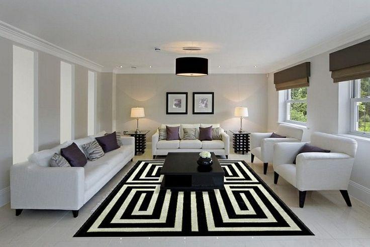 Déco Salon - salon moderne avec tapis géometrique en noir et ...