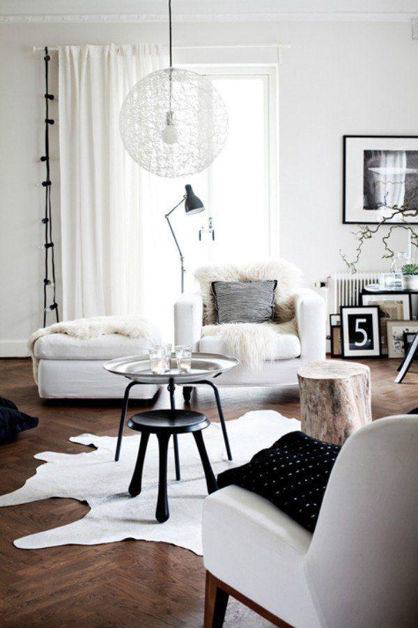 Deco Salon Salon Moderne Blanc Et Noir Et Parquet En Bois