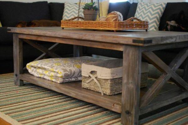 D co salon table basse en palette bois avec tapis color - Tapis pour table basse ...