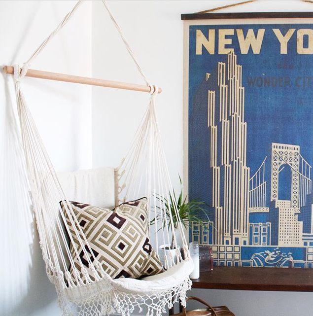 d coration mural hamac suspendu esprit boh me avec ce style macram sourc doce lar. Black Bedroom Furniture Sets. Home Design Ideas