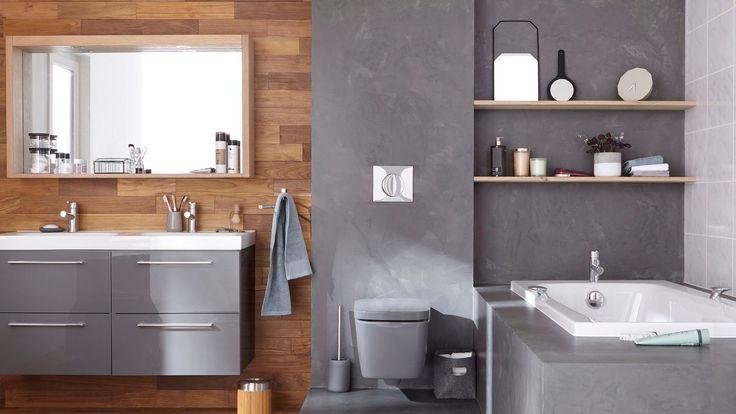 id e d coration salle de bain carrelage et peinture effet beton dans la salle de bains leroy. Black Bedroom Furniture Sets. Home Design Ideas
