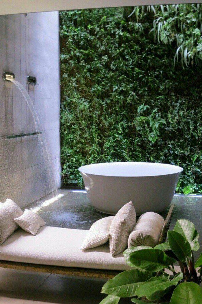 Description. Meuble Salle De Bain Bois Exotique Pas Cher Avec Plantes Vertes