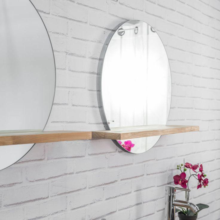 id e d coration salle de bain miroir bologne avec tablette en teck massif. Black Bedroom Furniture Sets. Home Design Ideas