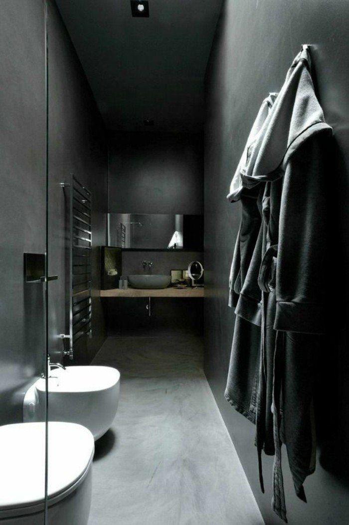 Idée décoration Salle de bain - murs noirs, sol en beton cire ...