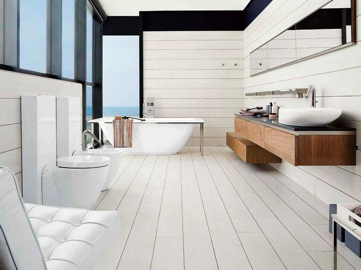 id e d coration salle de bain parquet salle de bain pont de bateau en blanc neige lambris. Black Bedroom Furniture Sets. Home Design Ideas