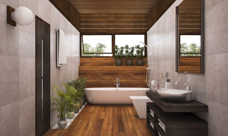 Salle de bain sur plancher bois