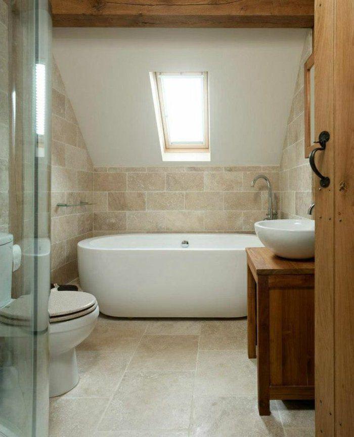 Idée décoration Salle de bain - salle de bain sous pente avec ...