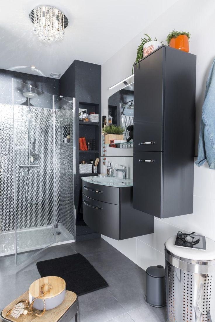 Idée décoration Salle de bain - Salle de bains Gris / Argent ...