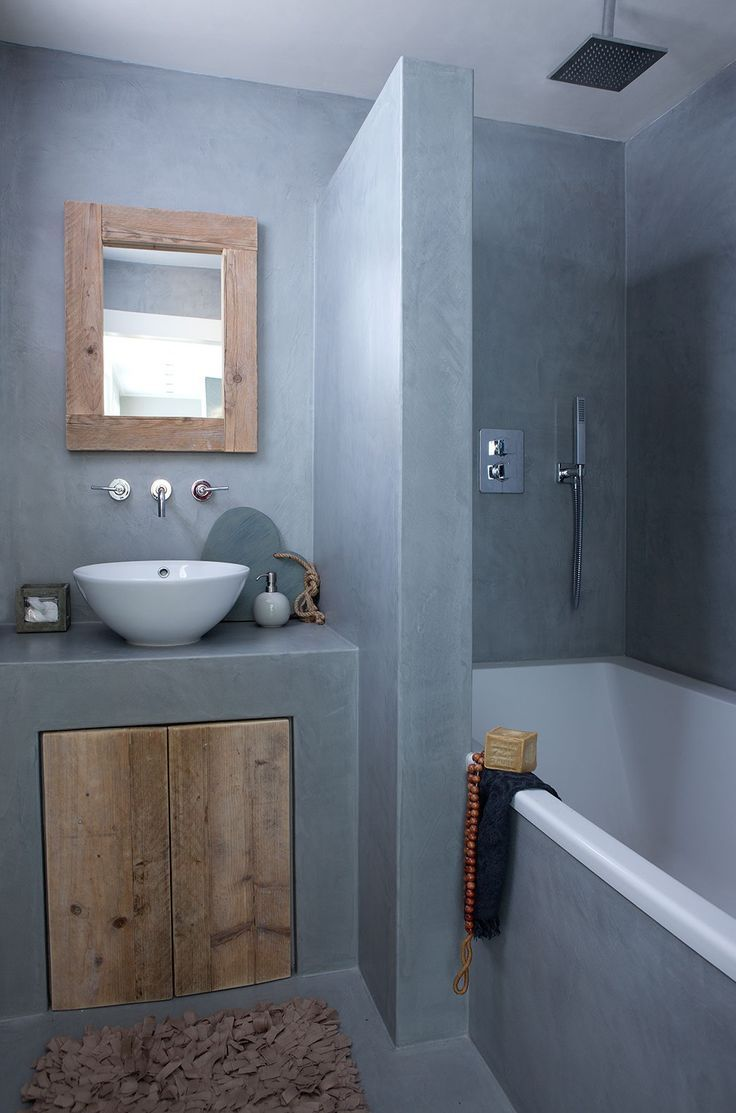 Total look b ton et bois dans la salle de bains for Salle de bain bois et beton