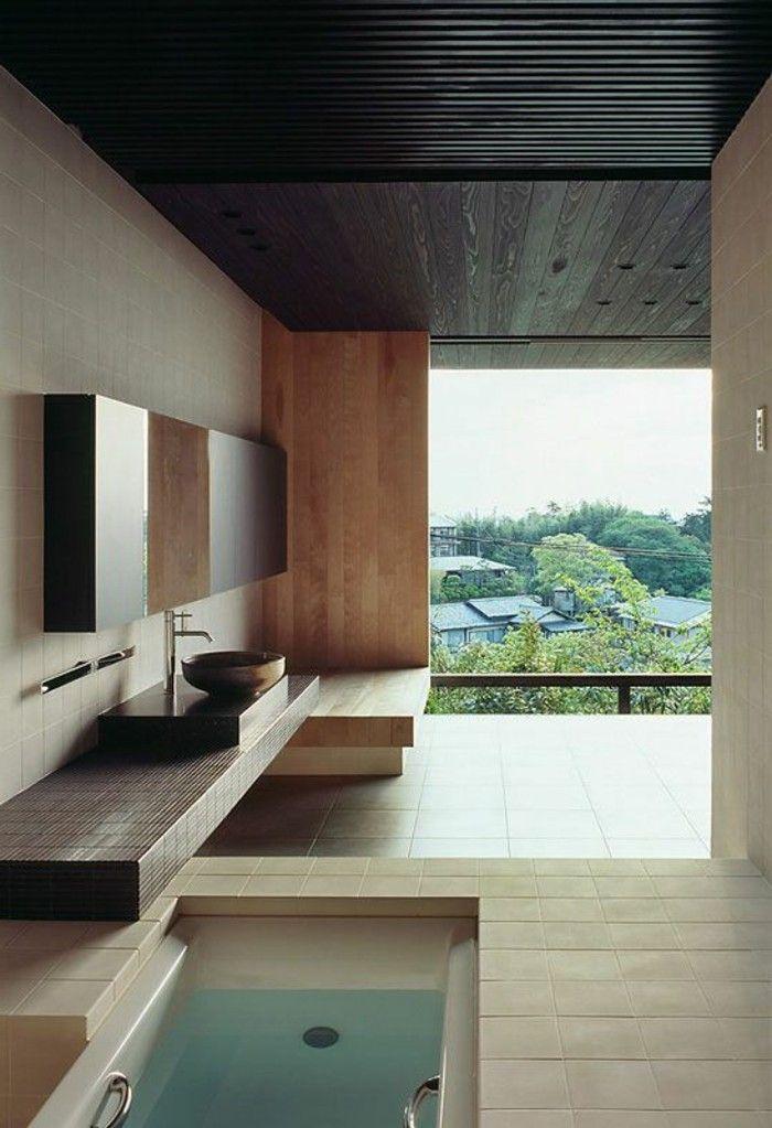 id e d coration salle de bain vasque salle de bains terrasse bois nature dans la maison. Black Bedroom Furniture Sets. Home Design Ideas