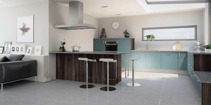 id e relooking cuisine cuisine hygena mod le astral bleu style design avec surflancs poirier. Black Bedroom Furniture Sets. Home Design Ideas