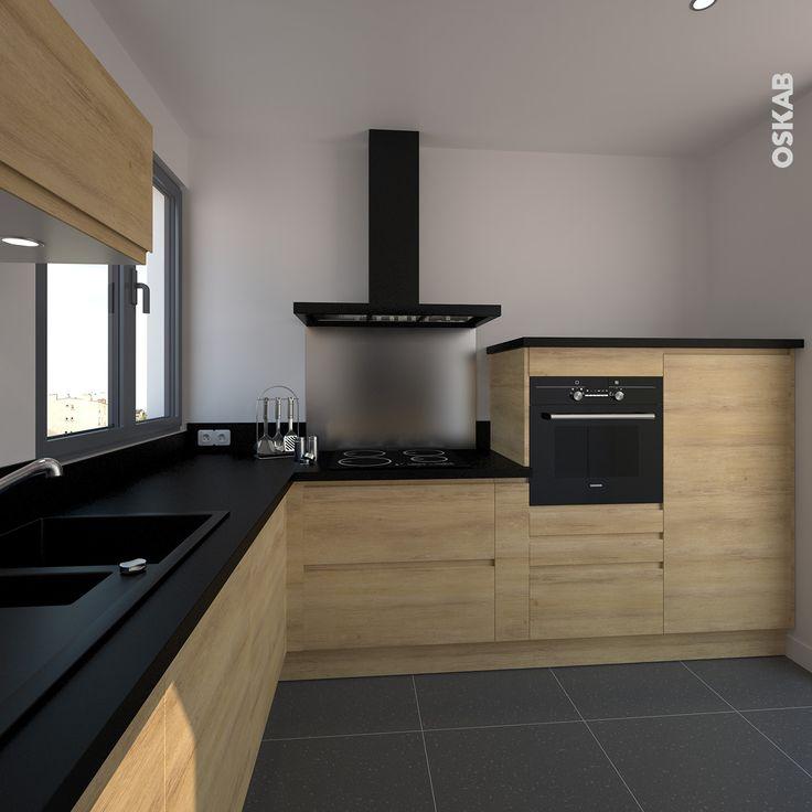 id e relooking cuisine cuisine ouverte en l d cor bois mod le sans poign e moderne avec passe. Black Bedroom Furniture Sets. Home Design Ideas