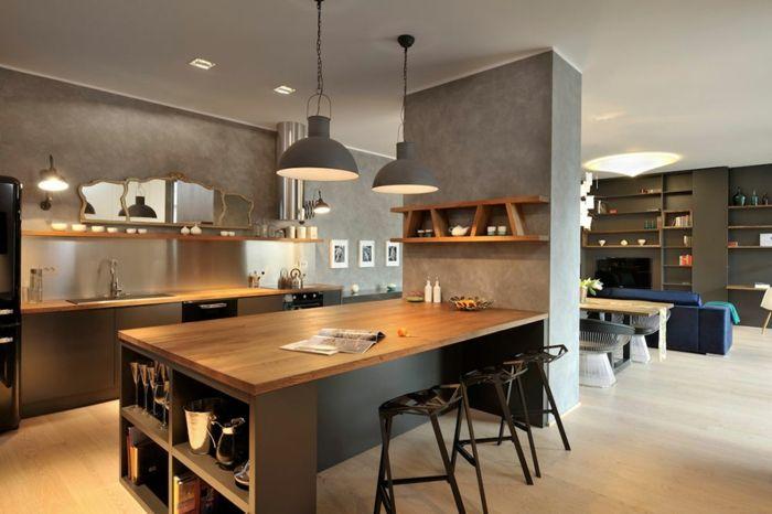 Id e relooking cuisine offene k che wohnzimmer abtrennen offene k che mit theke spiegel - Zimmer abtrennen ...