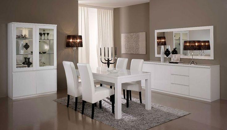 Salle manger salle manger compl te blanc et laqu - Eclairage salle a manger ...