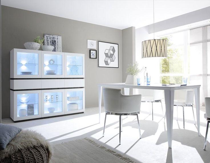 Salle à manger - Salle à manger complète moderne blanc ou gris laqué ...