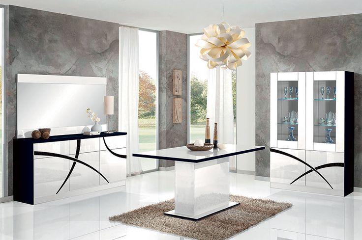 Salle manger salle manger design blanc laqu et noir avec clairage led borgia 2 - Salle a manger noir et blanc laque ...