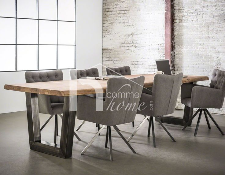 salle manger table manger industrielle en acacia et inox bross munich 2 listspirit. Black Bedroom Furniture Sets. Home Design Ideas