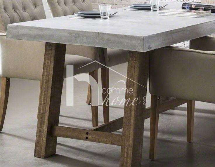 Salle manger table manger industrielle en b ton et bois racine - Table a manger beton ...