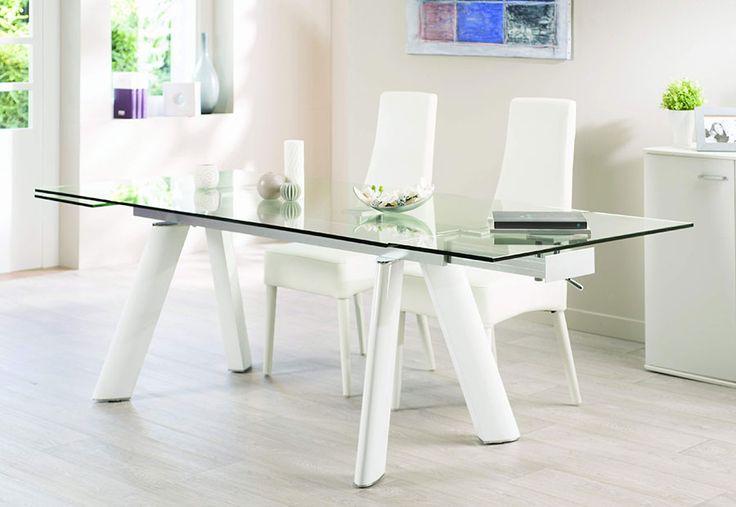 salle manger table de salle manger design en verre et aluminium oleane coloris blanc laqu. Black Bedroom Furniture Sets. Home Design Ideas