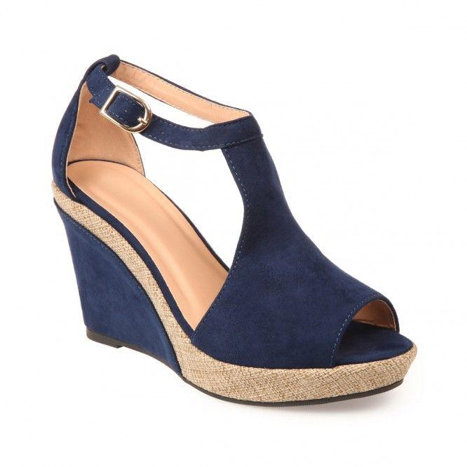 ea3713115c0abc Tendance Chaussures 2017 - Sandales compensées bi-matière bleu ...