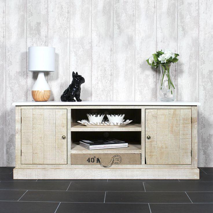 d co salon ce meuble tv bois massif couleur blanc et bois comporte plusieurs rangements pou. Black Bedroom Furniture Sets. Home Design Ideas
