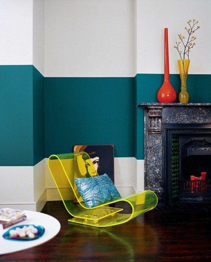 d co salon couleur de peinture pour salon mur blanc bleu chaise transparente jaune. Black Bedroom Furniture Sets. Home Design Ideas